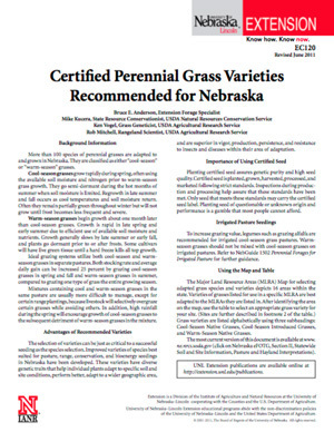 Certified Perennial Grass Varieties Recommended for Nebraska