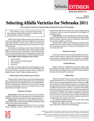 Selecting Alfalfa Varieties for Nebraska -- 2011