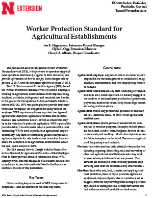 Worker Protection Standard for Agricultural Establishments (EC3006)