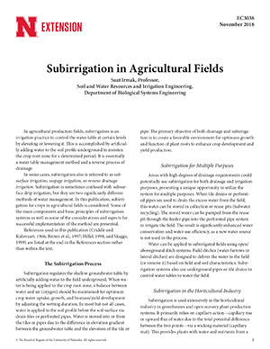 Subirrigation in Agricultural Fields