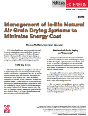 Management of In-Bin Natural Air Grain Drying Systems to Minimize Energy Cost