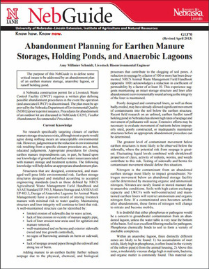 Abandonment Planning for Earthen Manure Storages, Holding Ponds