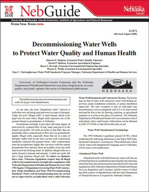 Decommissioning Water Wells to Protect Water Quality and Human Health
