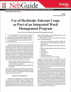 Use of Herbicide Tolerant Crops as Part of an Integrated Weed Management Program