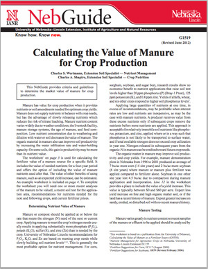 Calculating the Value of Manure for Crop Production