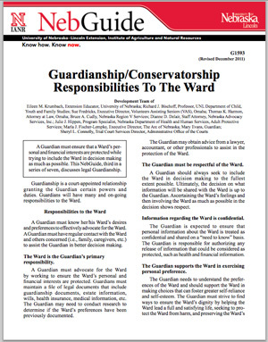 Guardianship Responsibilities to the Ward