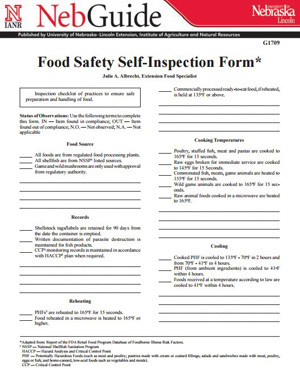 Food Safety Self-Inspection Form