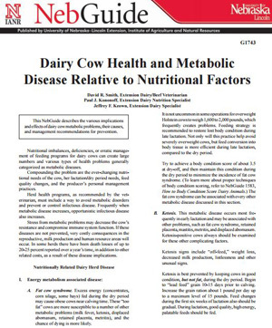 Dairy Cow Health and Metabolic Disease Relative to Nutritional Factors