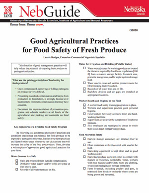 Good Agricultural Practices for Food Safety of Fresh Produce