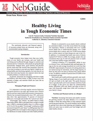 Healthy Living in Tough Economic Times