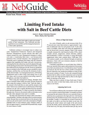 Limiting Feed Intake with Salt in Beef Cattle Diets