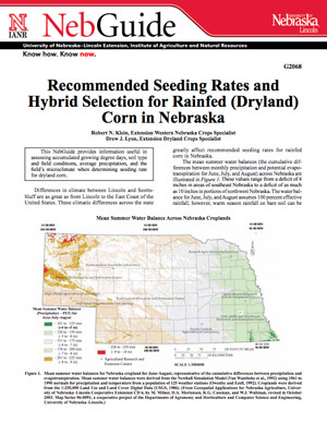 Recommended Seeding Rates and Hybrid Selection for Rainfed (Dryland) Corn in Nebraska
