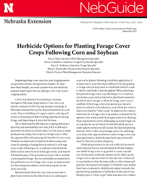 Herbicide Options for Planting Forage Cover Crops Following Corn and Soybean (G2276)