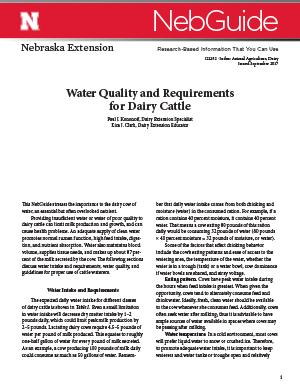 Water Quality and Requirements for Dairy Cattle (G2292)