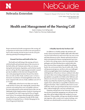 Health and Management of the Nursing Calf (G2293)