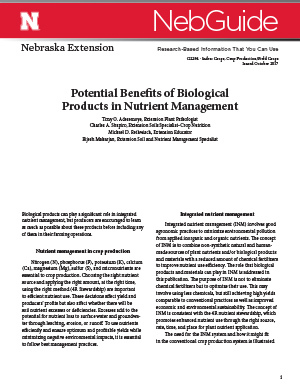Potential Benefits of Biological Products in Nutrient Management (G2294)