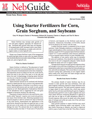 Using Starter Fertilizers for Corn, Grain Sorghum, and Soybeans