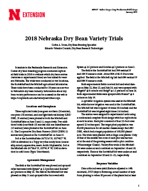 2018 Nebraska Dry Bean Variety Trials