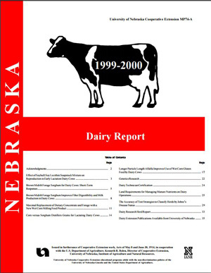 Nebraska Dairy Report, 1999-2000