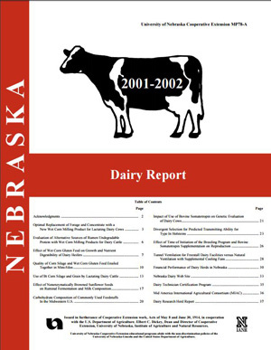 Nebraska Dairy Report 2001-2002