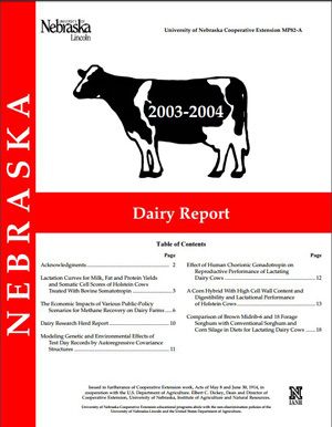 Nebraska Dairy Report, 2003-2004