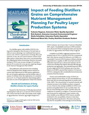 Impact of Feeding Distillers Grains on Comprehensive Nutrient Management Planning for Poultry Layer Production Systems